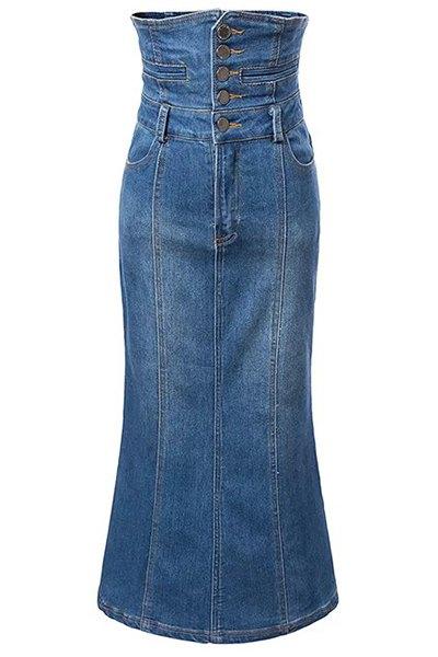 High Waist A-Line Bleach Wash Mermaid Denim Skirt