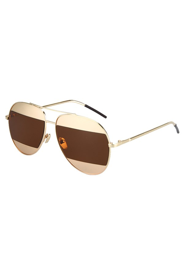 Irregular Lenses Golden Alloy Sunglasses For Women