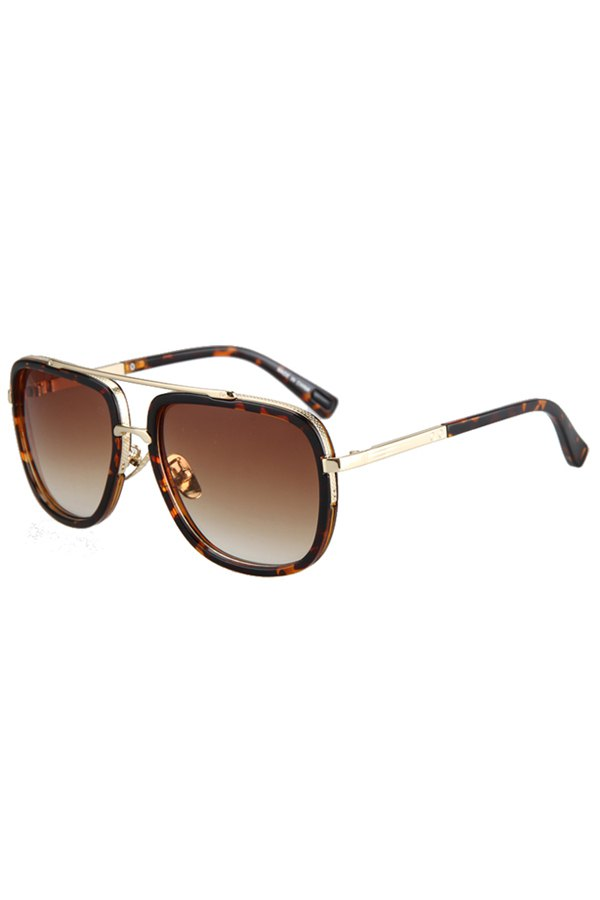 Alloy Match Leopard Pattern Sunglasses For Women