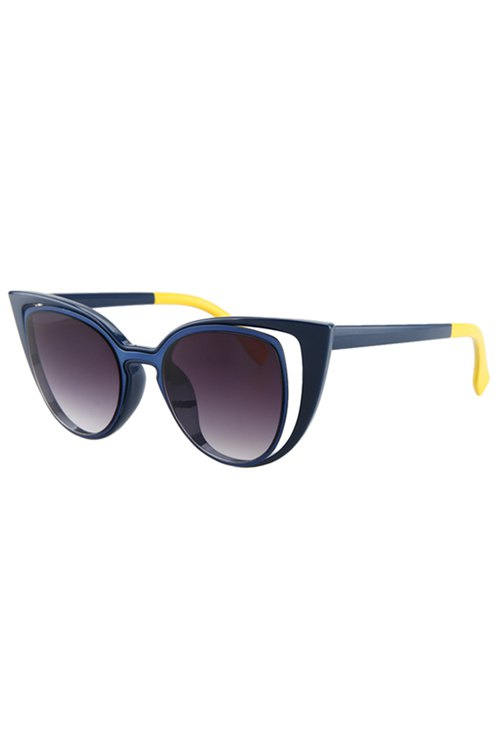 Hollow Out Frame Color Block Sunglasses For Women