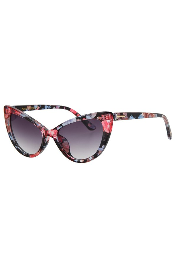 Letter T Shape Inlay Flower Sunglasses