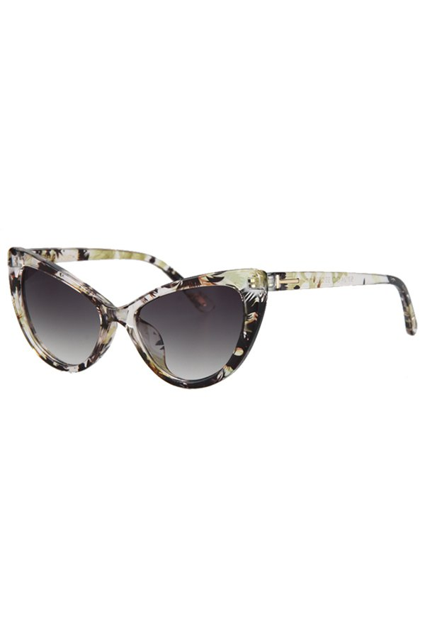 Letter T Shape Inlay Flower Sunglasses For Women