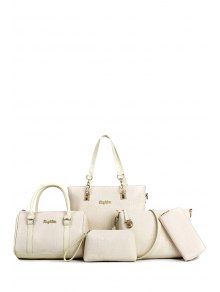 Metal Letters Crocodile Print Shoulder Bag - Milk White