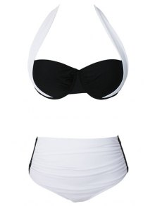 Drawstring Color Block Halter Bikini Set - White Xl