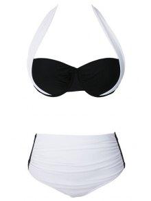 Drawstring Color Block Halter Bikini Set - White 2xl