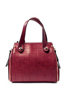 Grid Stitching PU Leather Tote Bag