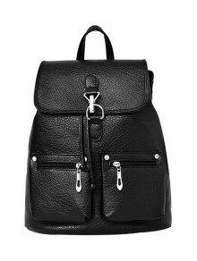 Buy Zips Black PU Leather Satchel - BLACK