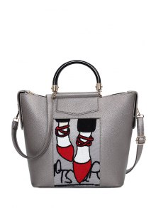 Print Splicing PU Leather Tote Bag