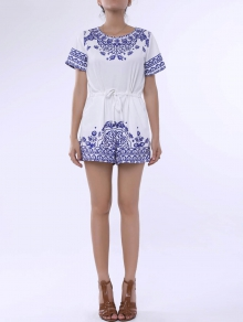 Great Wall Print Blue and White Porcelain Playsuit