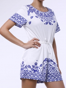 Great Wall Print Blue and White Porcelain Playsuit - BLUE XS