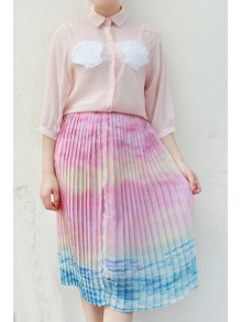 Ombre Color High Neck Chiffon Skirt