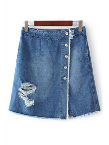 Ripped Single-Breasted High Waist A-Line Denim Skirt - Blue L