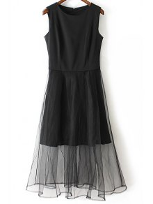 Black Voile Spliced Round Neck Sleeveless Dress