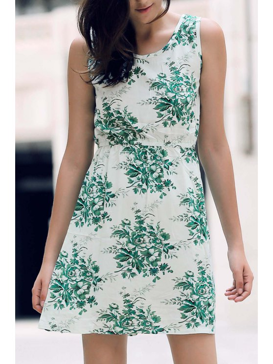 chic Printed Waisted Mini Dress - WHITE AND GREEN L