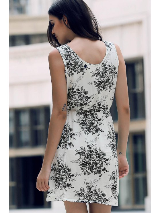 Printed Waisted Mini Dress - DUN M Mobile