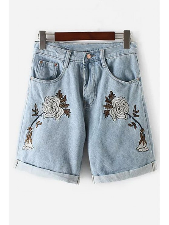 Floral Embroidery High Waisted Denim Shorts - LIGHT BLUE S Mobile
