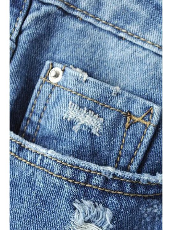Ripped Pockets Bleach Wash Jeans - DENIM BLUE L Mobile