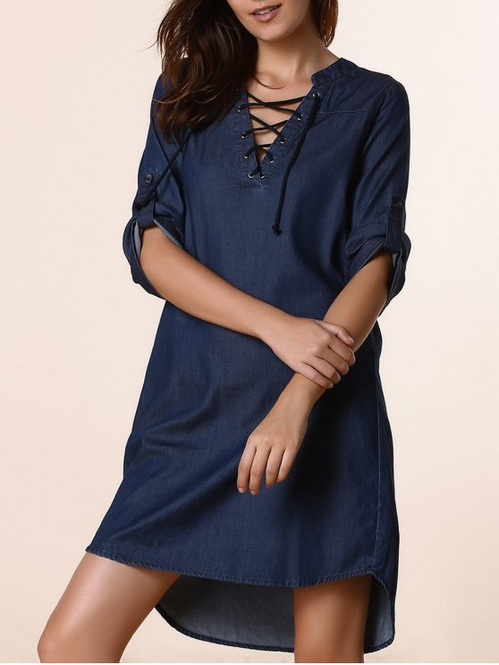 trendy Lace Up Denim Tunic Dress - DEEP BLUE L