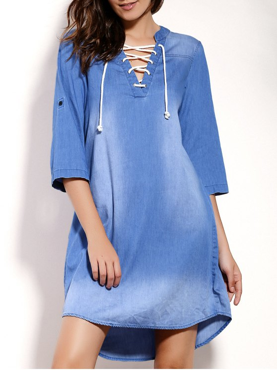 buy Lace Up Denim Tunic Dress - BLUE M