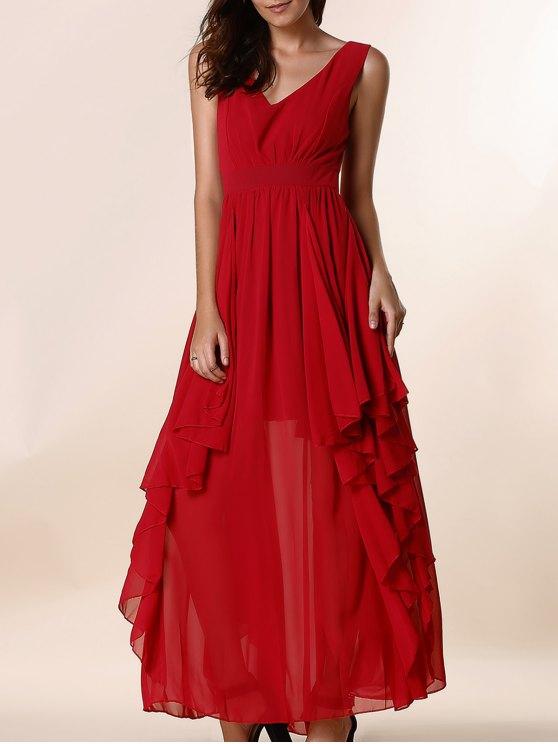 Color sólido del volante Volantes Hundiendo cuello vestido sin mangas - Rojo L