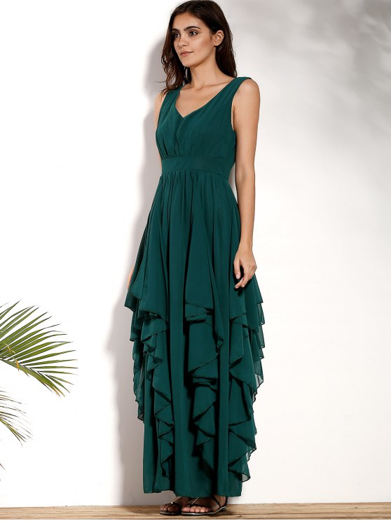 Ruffles Plunging Neck Formal Maxi Dress - GREEN L Mobile