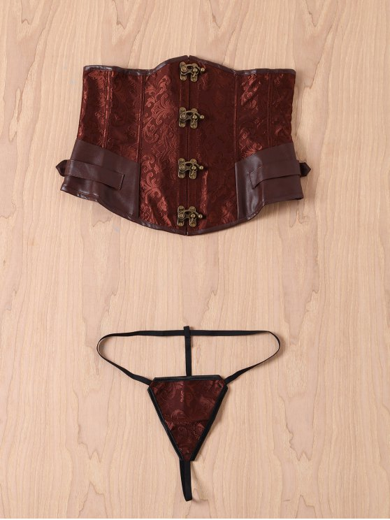 women Alloy Buckle Steampunk Lace Up Corset - BROWN M