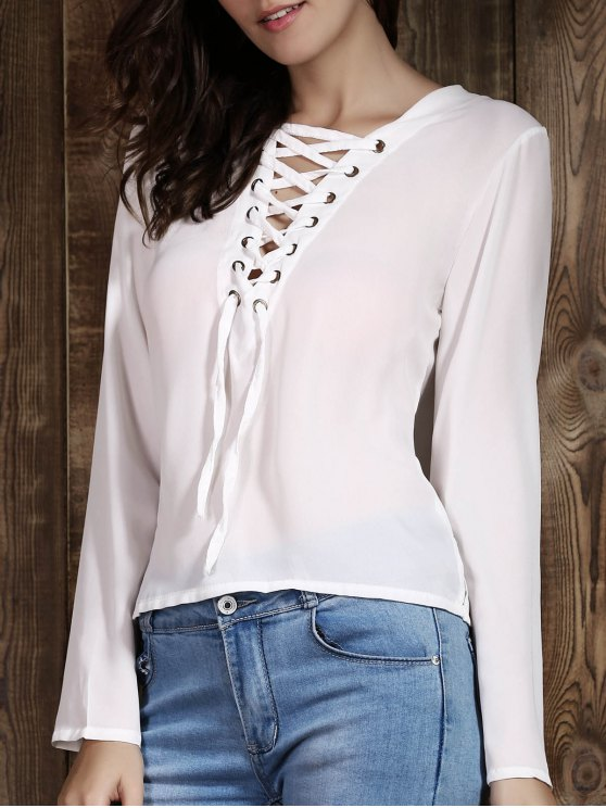 sale Lace Up Plunging Neck Long Sleeve T-Shirt - WHITE XL