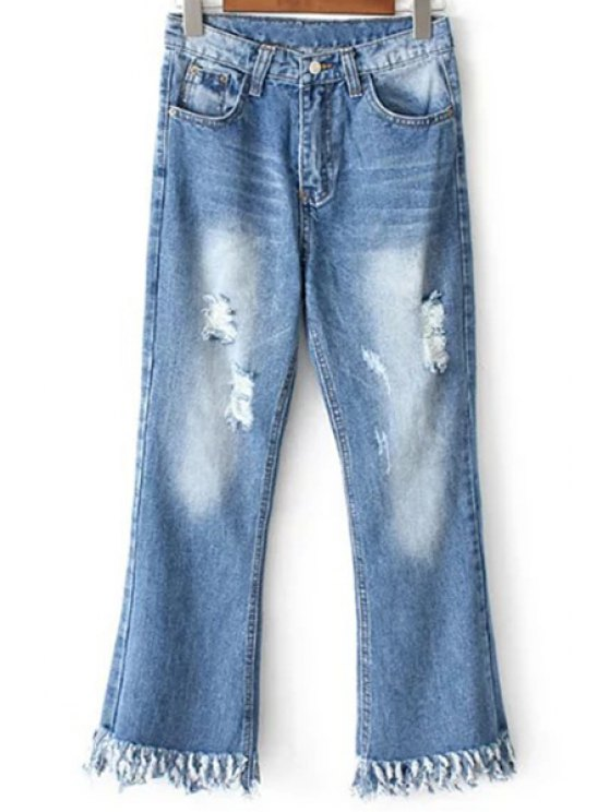 Ripped Pockets Rough Selvedge Jeans - LIGHT BLUE XL Mobile