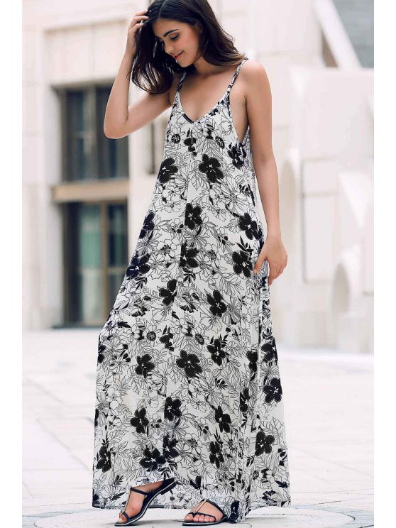 Low Cut Maxi Strap Long Tunic Dress - WHITE ONE SIZE(FIT SIZE XS TO M) Mobile
