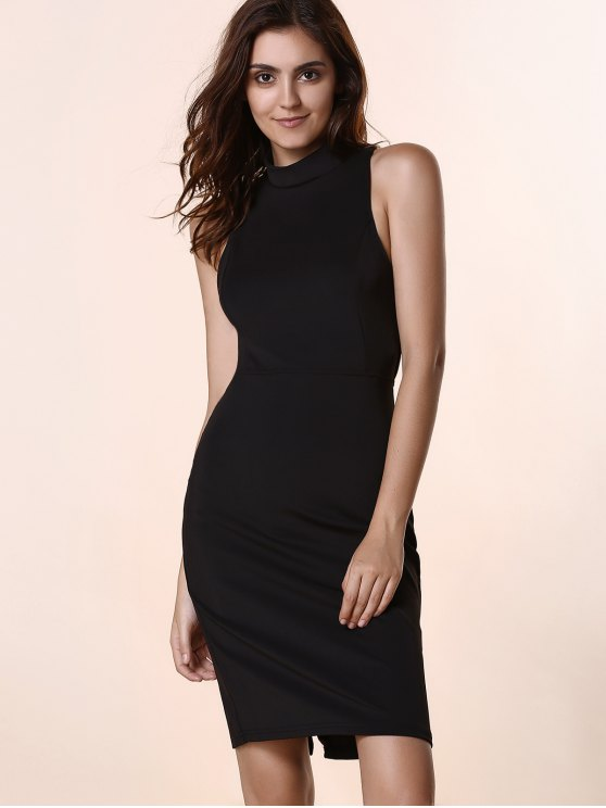 Black Hollow Out Round Neck Sleeveless Dress - BLACK L Mobile