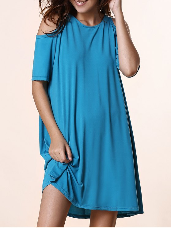 fancy Solid Color Round Neck Short Sleeve Cold Shoulder Dress - LAKE BLUE L