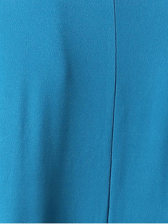 Solid Color Round Neck Short Sleeve Cold Shoulder Dress - BLUE M Mobile