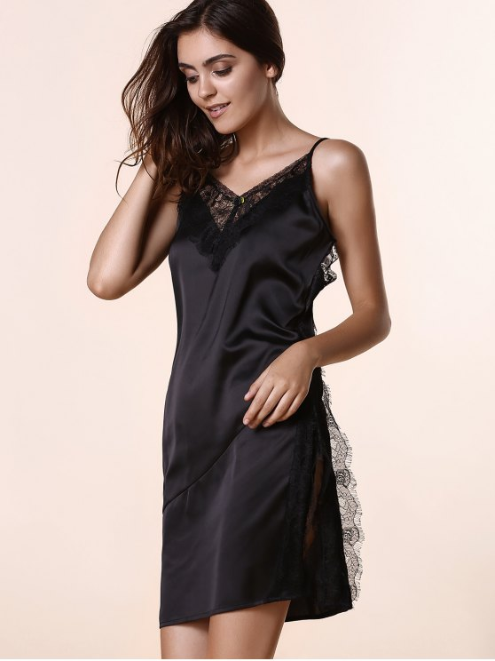 Open Back Lace Splicing Spaghetti Straps Dress - BLACK S Mobile