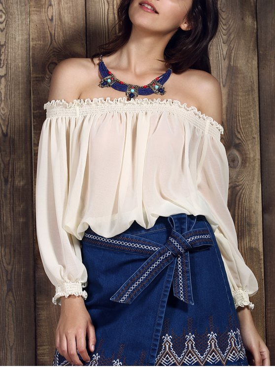 Cold Shoulder recortada campesino Top - Blanco L