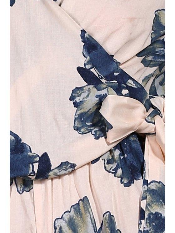 Flower Print Plunging Neck Lartern Sleeve Romper - PINK M Mobile