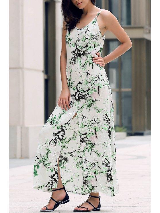 Robe maxi longue sans manches imprimé vert - Blanc S