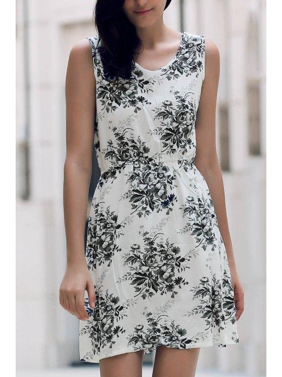 Printed Waisted Mini Dress - DUN L Mobile