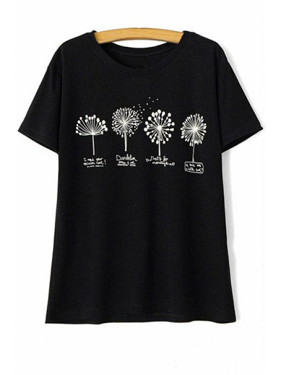 dandelion imprimer col rond manches courtes t shirt noir t shirts l zaful. Black Bedroom Furniture Sets. Home Design Ideas