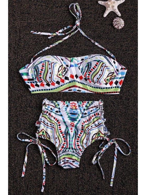 Cuello halter conjunto de bikini de impresión geométrica - Colormix L