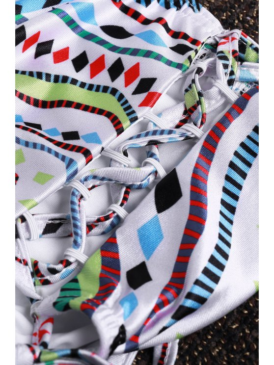 Halter Neck Colorful Geometric Print Bikini Set - COLORMIX L Mobile