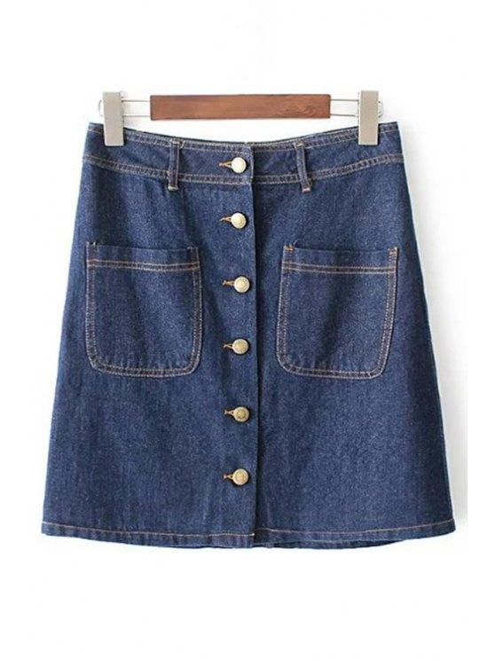 Frente botón de la falda del dril de algodón - Azul L