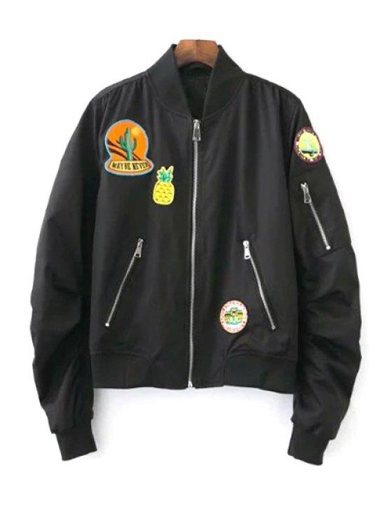 Parche de soporte chaqueta de cuello de manga larga - Negro L