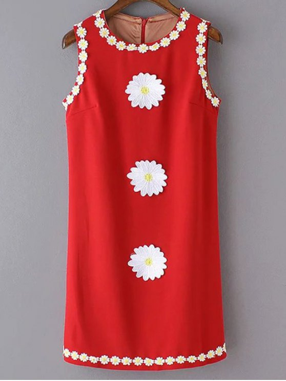 sale Crochet Daisy Tank Dress - RED L