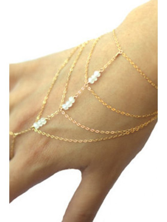 Bead Multilayered Golden Wrist Chain - GOLDEN  Mobile