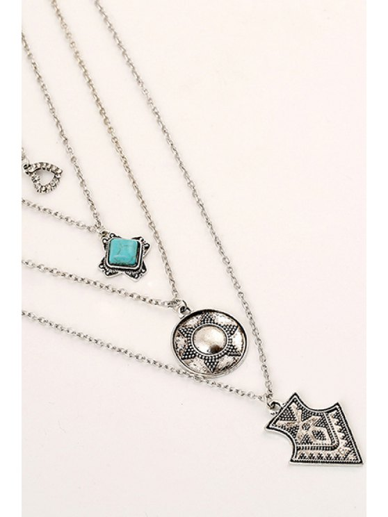 Tribal Style Pendant Multilayered Necklace -   Mobile