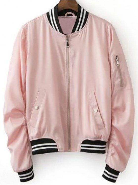 fancy Pink Baseball Jacket - PINK S