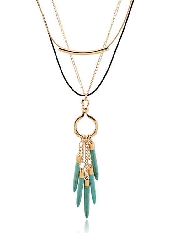 trendy Bullet Pendant Multilayered Necklace - GOLDEN