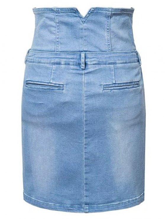 Waist Cincher Denim Mini Skirt - DENIM BLUE M Mobile