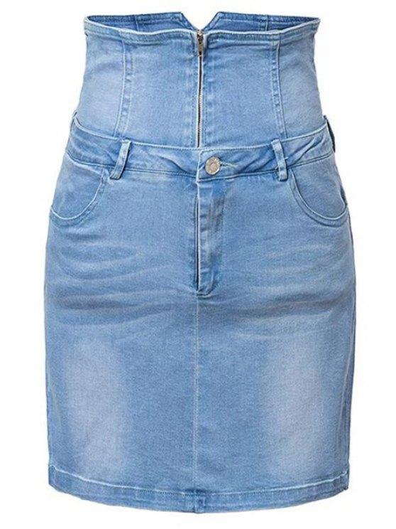 affordable Waist Cincher Denim Mini Skirt - DENIM BLUE M