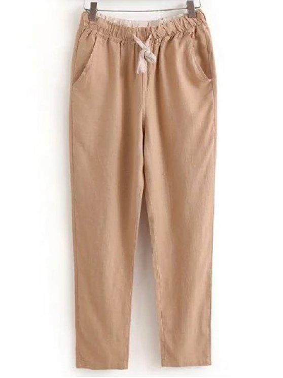 Con cordón Bolsillos pantalones ocasionales del color sólido - CaquiClaro XL